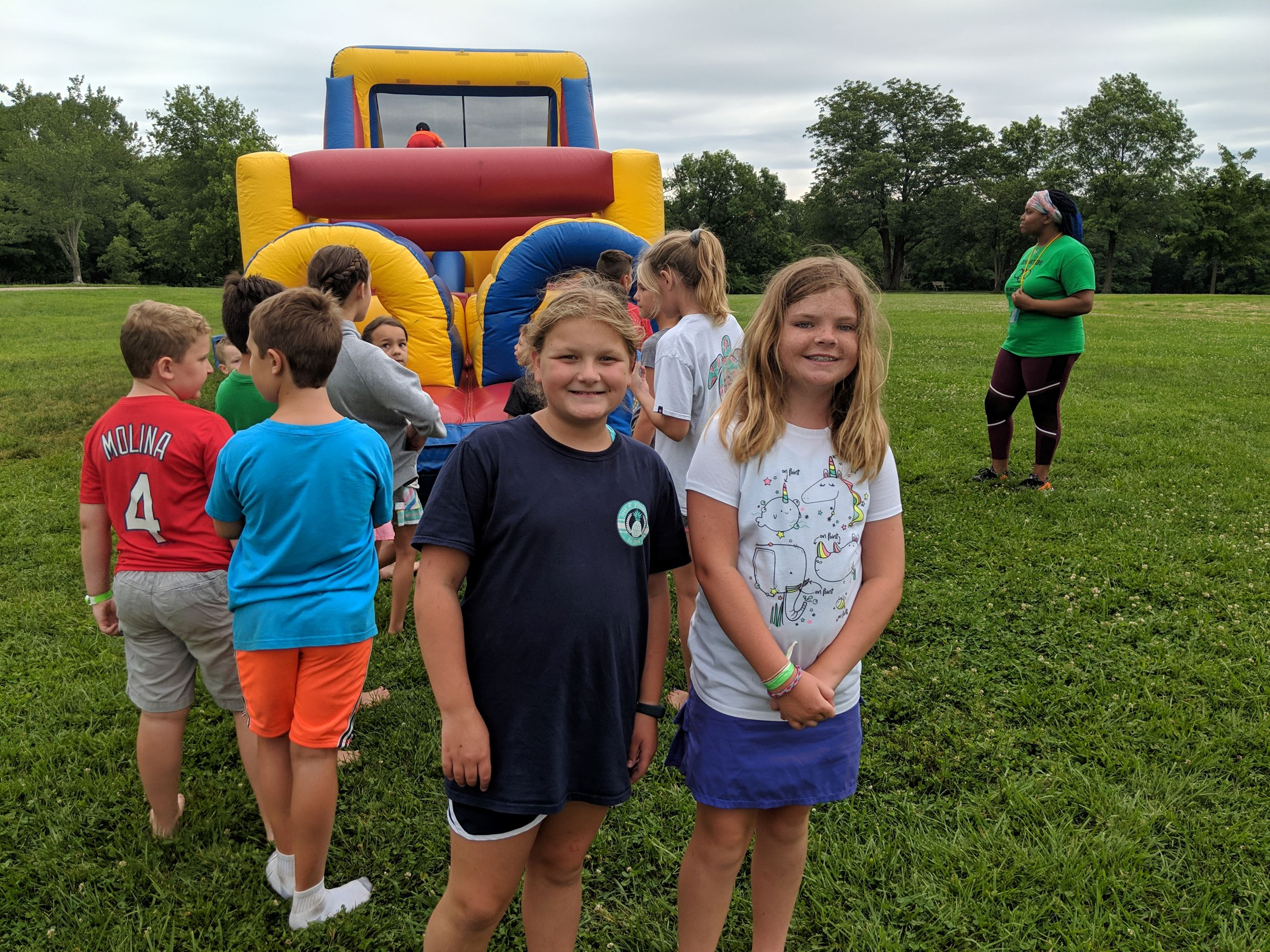 Camp girls at obstacle course