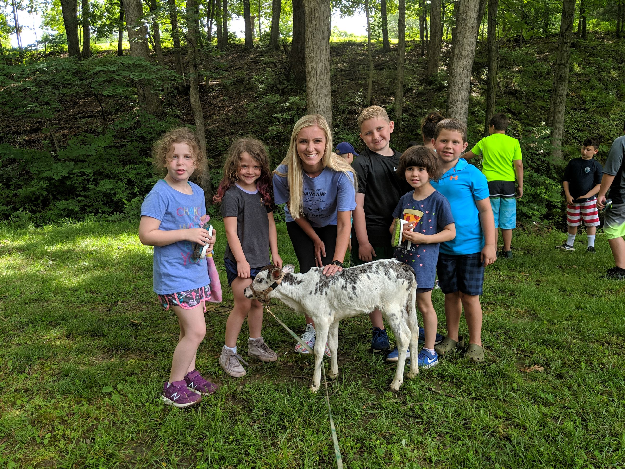 camp group with cow from petting zoo